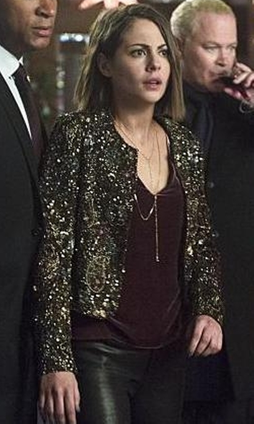 Willa Holland with Alice + Olivia Kidman Embellished Cropped Jacket in Arrow