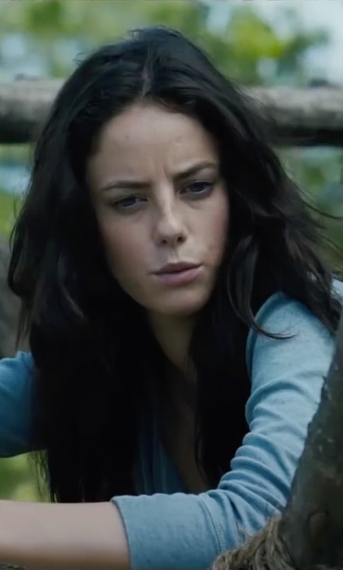 Kaya Scodelario with Ralph Lauren Women Ribbed Henley Shirt in The Maze Runner