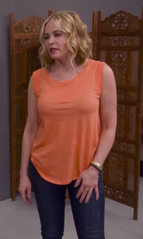 Chelsea Handler with Joie Alicia Silk Tank Top in Chelsea