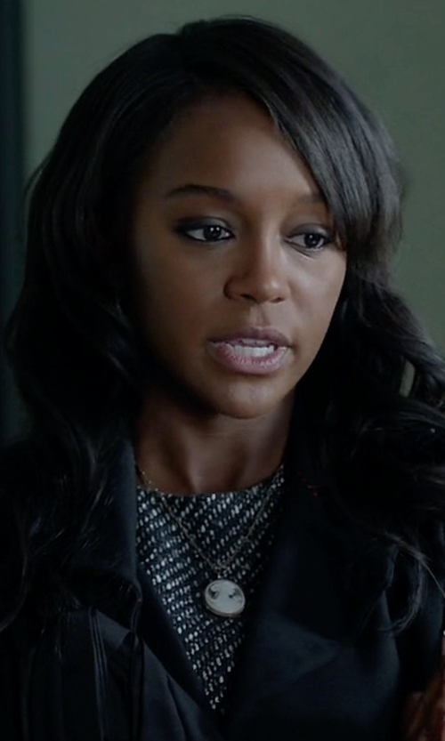 Aja Naomi King with Theory Raneid Tweed Shift Dress in How To Get Away With Murder