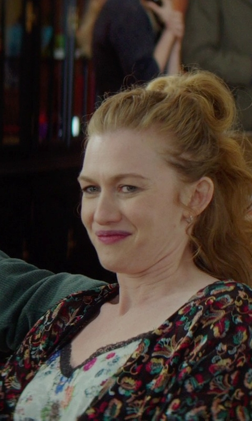 Mireille Enos with Aqua Spaghetti Strap Lace Fit and Flare Dress in If I Stay