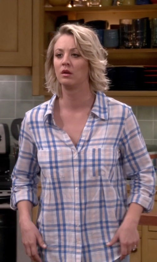 Kaley Cuoco-Sweeting with Joie Cartel Plaid Roll-Sleeve Blouse in The Big Bang Theory