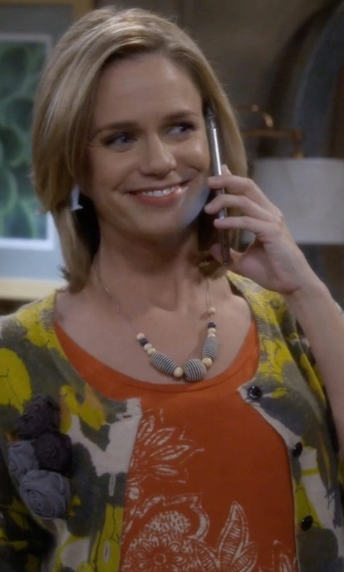 Andrea Barber with Big Texas Asian Floral Tank-Top in Fuller House