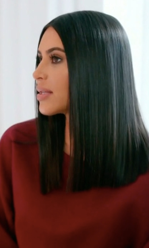 Kim Kardashian West with Yeezy Season 4 Calabasas Crewneck Sweater in Keeping Up With The Kardashians