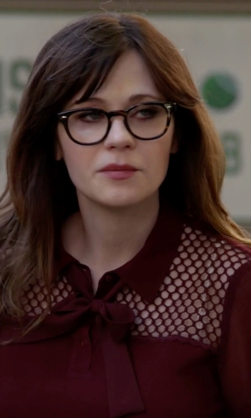 Zooey Deschanel with Sandro Evora Top in New Girl