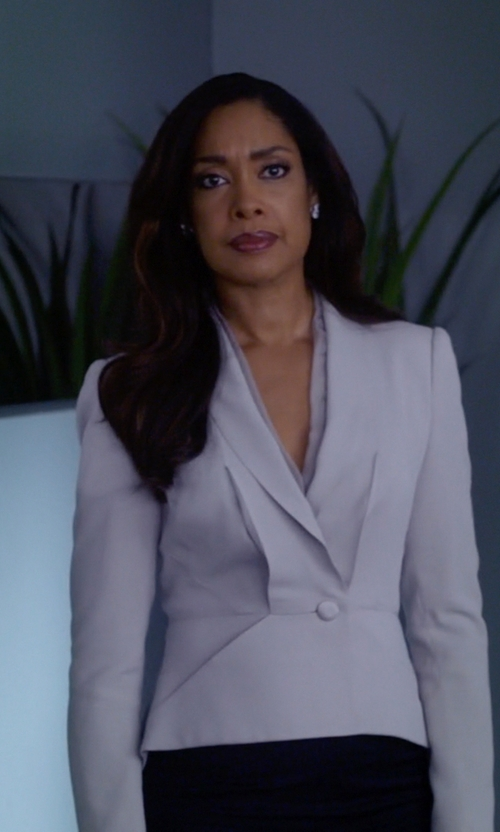 Gina Torres with John Hardy Bedeg Sterling Silver Buddha Belly Earrings in Suits