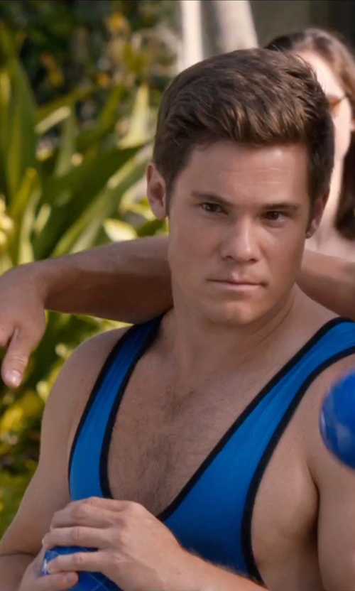 Adam DeVine with Adidas Lycra Solid Wrestling Singlet in Mike and Dave Need Wedding Dates