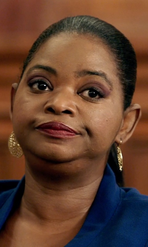 Octavia Spencer with Nest Jewelry	 Hammered Gold Plate Teardrop Earrings in Black or White