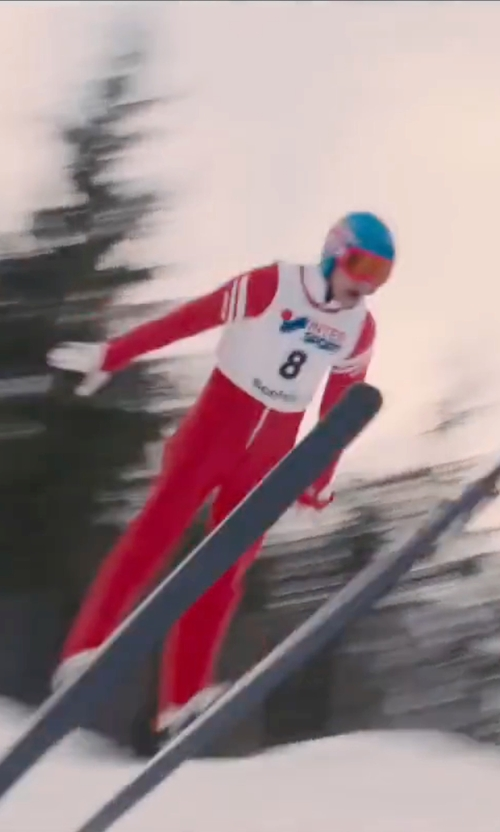Taron Egerton with POC Sports Skin Suit in Eddie The Eagle
