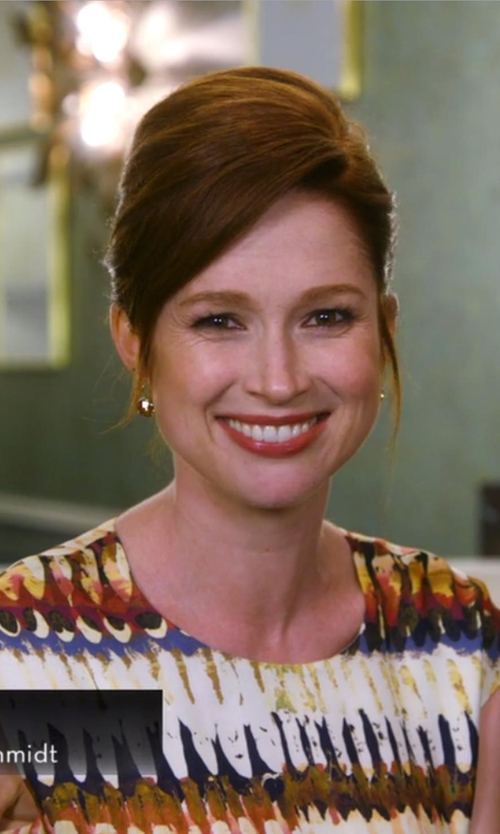 Ellie Kemper with Jose & Maria Barrera Hammered Ball-Drop Clip-On Earrings in Chelsea