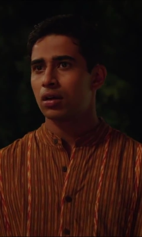 Suraj Sharma with Indian Fashion Trend Orange Art Dupion Silk Embroidered Kurta Pajama for Mens in Million Dollar Arm