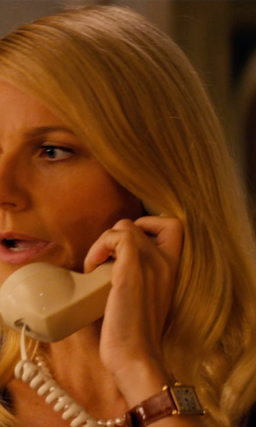 Gwyneth Paltrow with Shinola Runwell Goldtone PVD Stainless Steel & Leather Strap Watch in Mortdecai