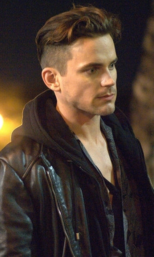 Matt Bomer with Michael Kors Mens Zip-Front Leather Jacket in American Horror Story