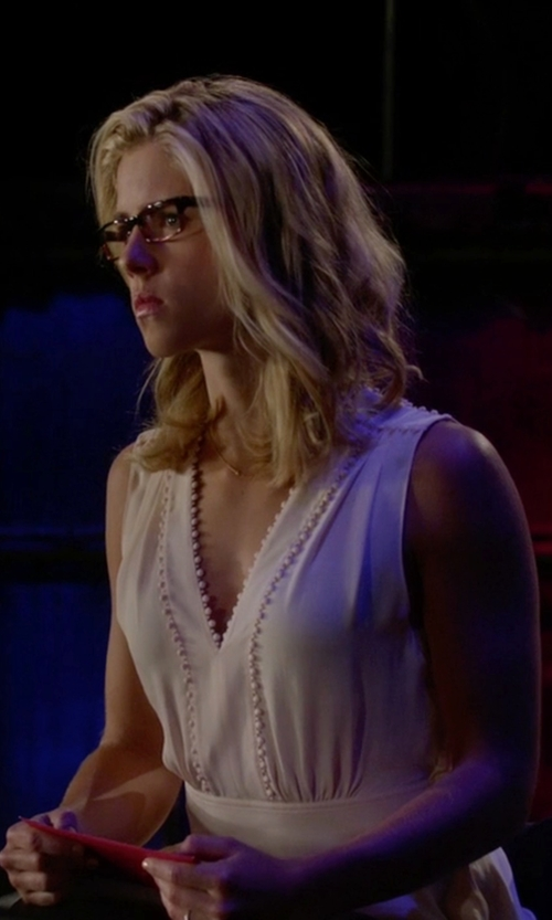 Emily Bett Rickards with Rebecca Taylor Ruffle Silk Blouse (Modified) in Arrow