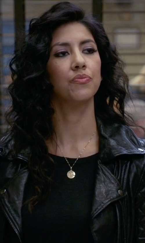 Stephanie Beatriz with Boohoo Boutique Millie Leather Biker Jacket in Brooklyn Nine-Nine