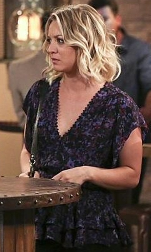 Kaley Cuoco-Sweeting with Rebecca Taylor Flutter Sleeve Peplum Silk Top in The Big Bang Theory