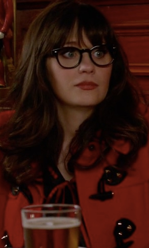 Zooey Deschanel with Juicy Couture Wool Short Swing Toggle Coat in New Girl