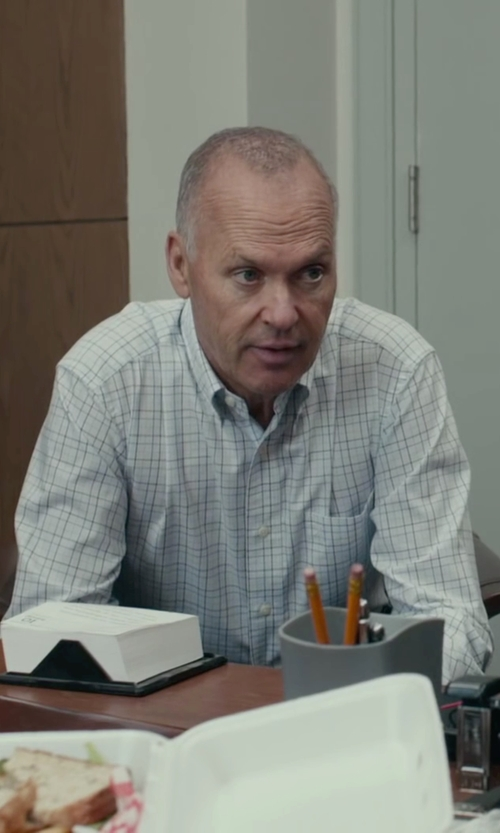 Michael Keaton with David Donahue Traditional Fit Check Dress Shirt in Spotlight