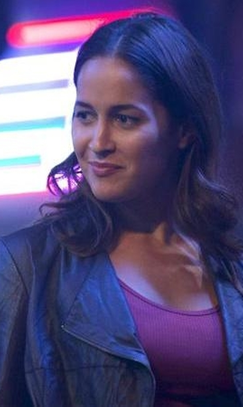 Jaina Lee Ortiz with Marc New York By Andrew Marc Felix Feather Leather Jacket in Rosewood
