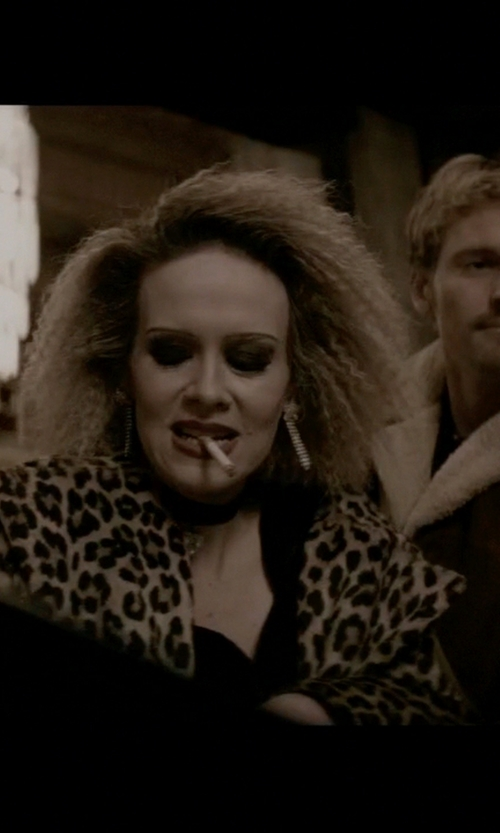 Sarah Paulson with Jane Post Leopard-Print Trench Raincoat in American Horror Story