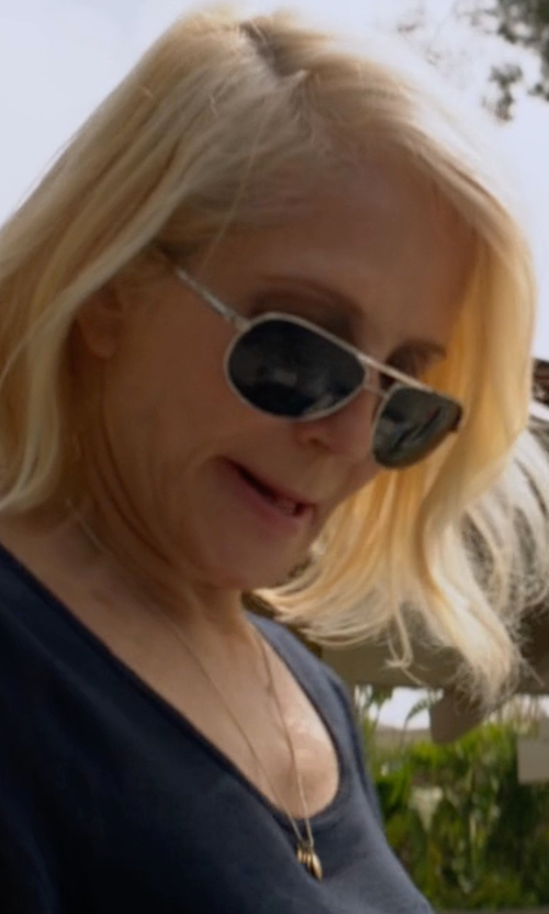 Ellen Barkin with Ray-Ban Original Aviator Sunglasses in Animal Kingdom
