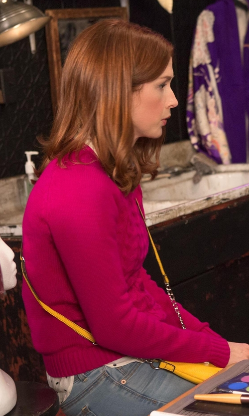Ellie Kemper with Land's End Women's Petite Drifter Cable Sweater in Unbreakable Kimmy Schmidt