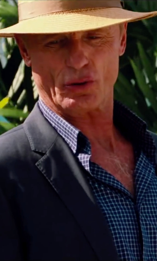 Ed Harris with Alexander Dobell Mens Navy Blue Textured Suit Jacket in Pain & Gain