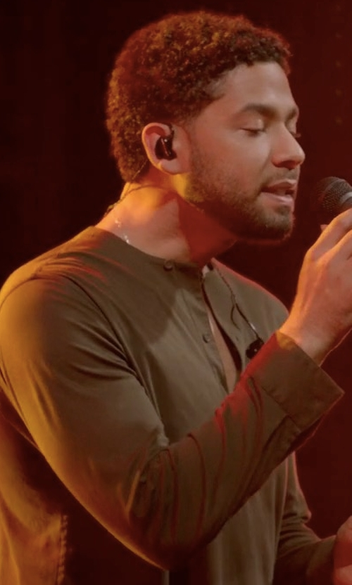 Jussie Smollett with Helbers Cotton-Jersey Henley Top in Empire