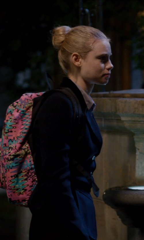 Lucy Fry with Jansport Superbreak Backpack in Vampire Academy