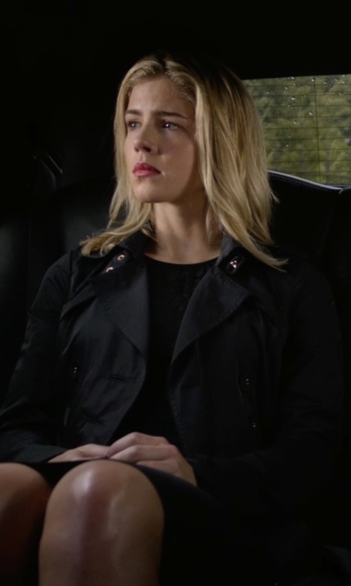 Emily Bett Rickards with Cole Haan Double-Breasted Trench Coat in Arrow