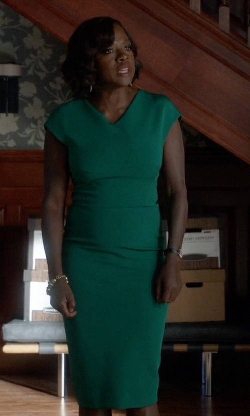 Viola Davis with Victoria Beckham Short Sleeved Midi Dress in How To Get Away With Murder