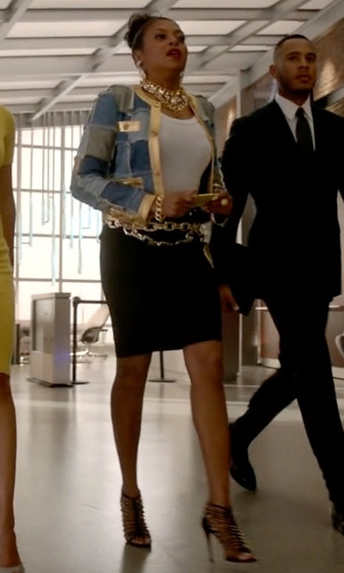 Taraji P. Henson with Christian Louboutin Millaclou Studded Leather Cage Sandals in Empire