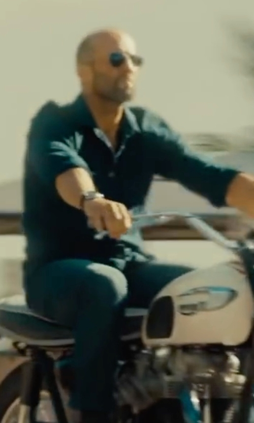 Jason Statham with Tom Ford Flannel Long-Sleeve Sport Shirt in Mechanic: Resurrection