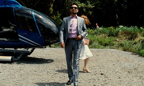 Irrfan Khan with Dolce & Gabbana Silver Shark Skin Suit in Jurassic World