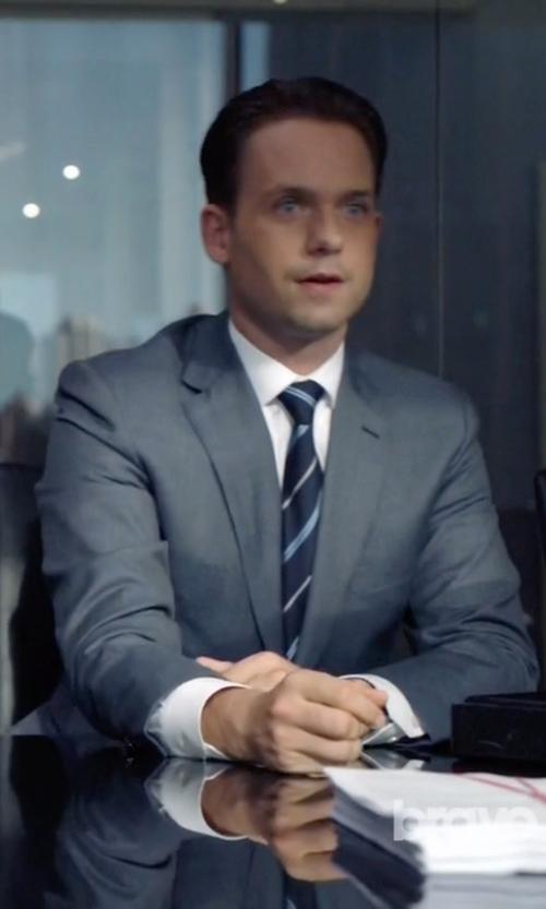 Patrick J. Adams with Ermenegildo Zegna White Point Collar Shirt in Suits