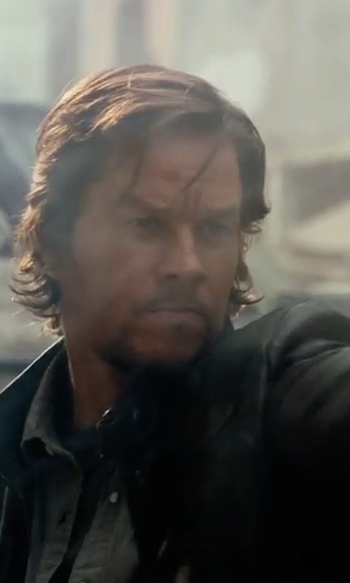 Mark Wahlberg with John Varvatos Star USA Tumbled Leather Moto Jacket in Transformers: The Last Knight