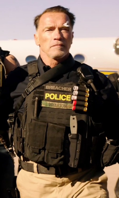 Arnold Schwarzenegger with Arrow Police Vest in Sabotage