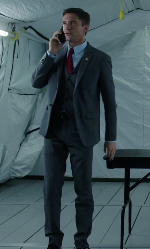 Topher Grace with Hugo Boss 'Adanz/Weyll/Hamen' Slim Fit Three Piece Suit in American Ultra