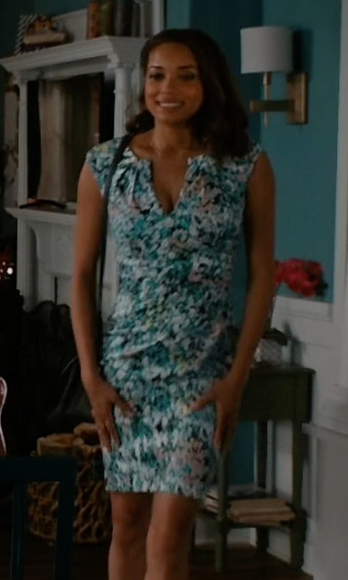 Rochelle Aytes with Adrianna Papell Surplice Floral Print Sheath Dress in Mistresses