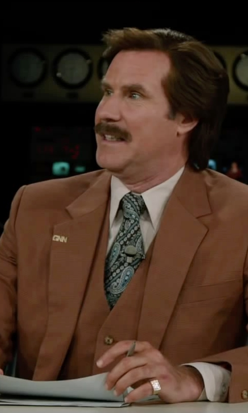 Will Ferrell with Brooks Brothers Own Make Three-Piece Corduroy Suit in Anchorman 2: The Legend Continues