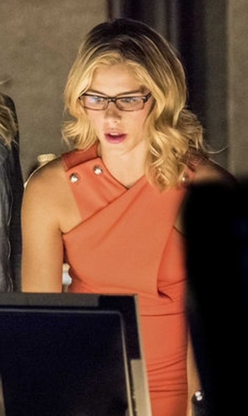 Emily Bett Rickards with Gucci Sleeveless Wrap Over Dress in Arrow