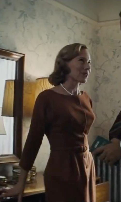 Amy Ryan with Armani Collezioni Ruched Jersey Sheath in Bridge of Spies