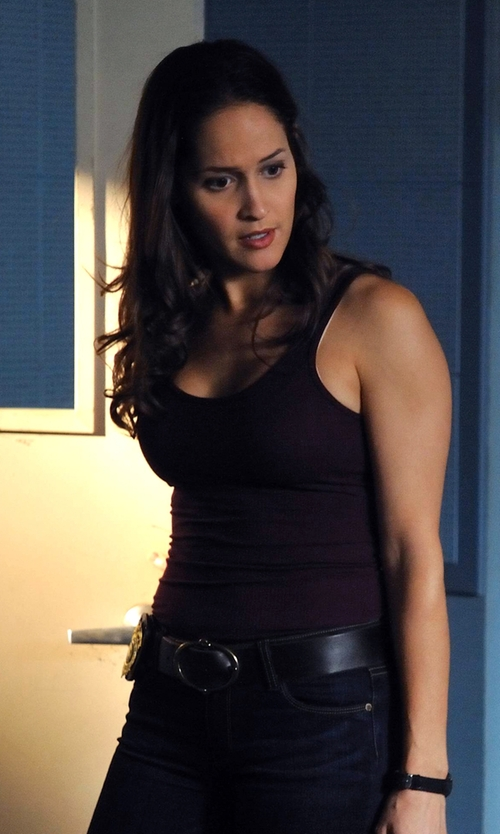 Jaina Lee Ortiz with Lauren Ralph Lauren Leather Belt in Rosewood
