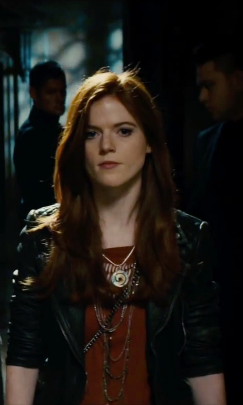 Rose Leslie with River Island Leather Fitted Biker Jacket in The Last Witch Hunter