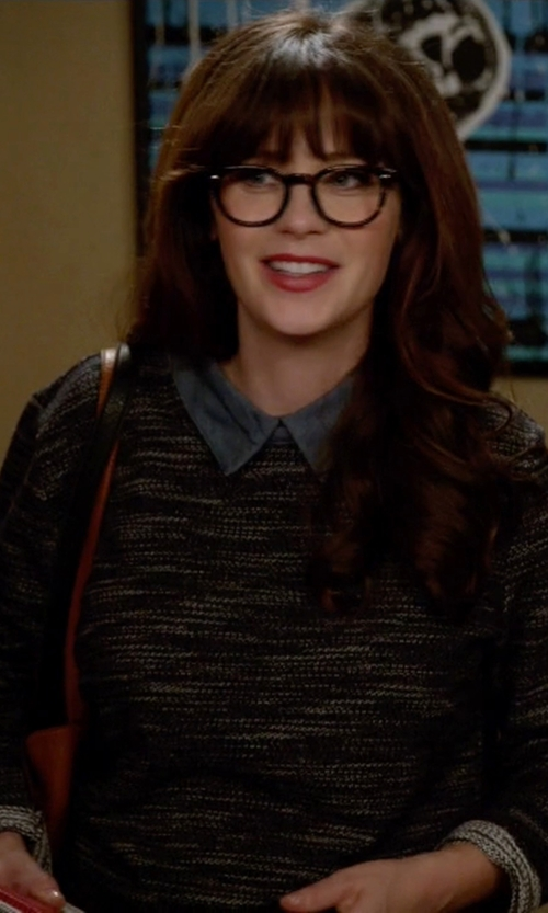 Zooey Deschanel with Helmut Lang Knitted Sweater in New Girl