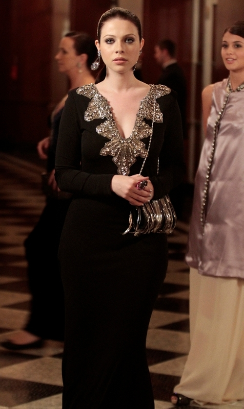 Michelle Trachtenberg with Badgley Mischka Couture Long-Sleeve Deco-Bead Gown in Gossip Girl
