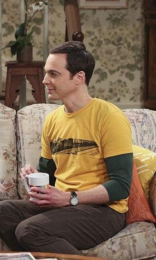Jim Parsons with Zazzle Vintage Train - Black T Shirt in The Big Bang Theory