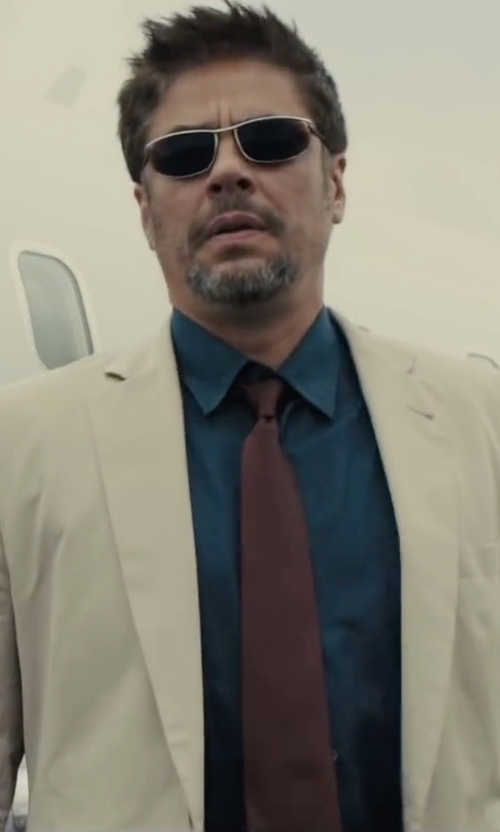 Benicio Del Toro with Boss Slim Fit Easy Iron Solid Dress Shirt in Sicario