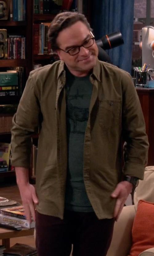 Johnny Galecki with River Island Herringbone Utility Overshirt in The Big Bang Theory