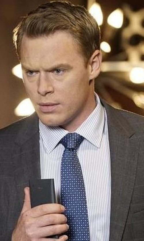 Diego Klattenhoff with Club Monaco Slim-Fit Stripe Dress Shirt in The Blacklist